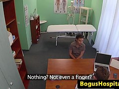 Patient dickrides doctor on examination table