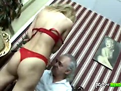 handicapped old guy fucks slim young blonde and delivers her unexpectedly hard orgasm