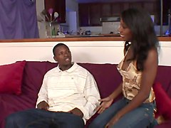 ebony with natural tits gets fucked from behind in the living room