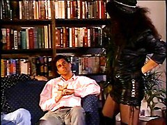 Young brunette in leather pounded by two studs