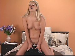 Hot thick blonde has a great time while riding the sybian