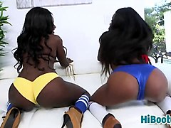 ebony babes kay and destinee sharing white rod