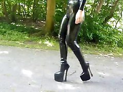 boots latex and heels