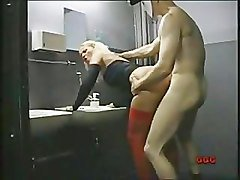 Blond fucked by a stranger in backstage toilets