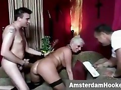 Blonde prostitute fucked for money