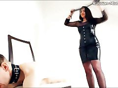 latex femdom goddess whip & heel domination of a foot slave