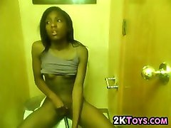 ebony teen in the bathroom
