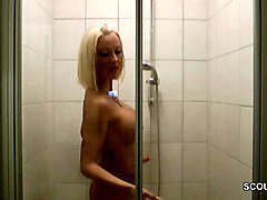 german milf mother caught and fuck in shower by stranger