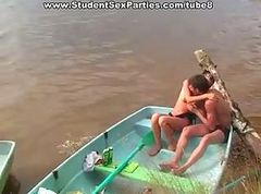 Students' group orgy at the lake