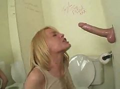 Horny Blonde Deep Throats on Gloryhole
