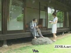 Subtitled Outdoors Bucolic Cfnm Japanese Penis Cleaning