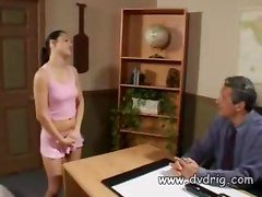 Perverted Schoolgirl Alicia Angel Passes Exams Giving Blowjob To Her Teacher