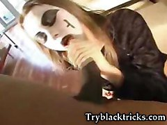 Mask Bitch Sucking Some Huge Black Dick