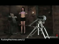 Brunette Strips And Fucks Machine In Dungeon