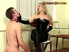 commanding trisha uses dildo on guy's ass