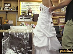 blondie babe sells her wedding dress and banged by pawn guy