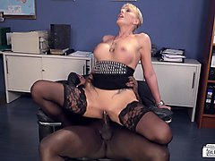 bums buero - hot busty german milf sucks bbc at the office