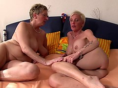 xxx omas - german foursome features three hot grannies sharing a cock