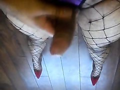 sexy wanks in fishnets and heels