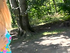 blonde teen sucking big cock in public park